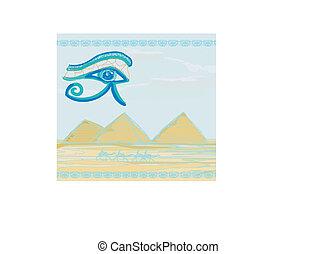 símbolos, olho, horus, camelo, egito, símbolo, -, tradicional, piramides, frente, silueta
