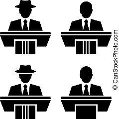 símbolos, orador, vetorial, orador, pretas