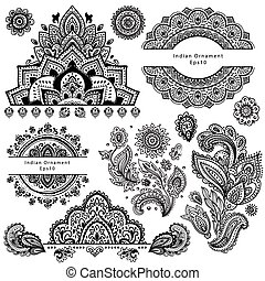 símbolos,  ornamental, Conjunto, indio