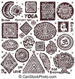 SÍMBOLOS,  ornamental, jogo, indianas