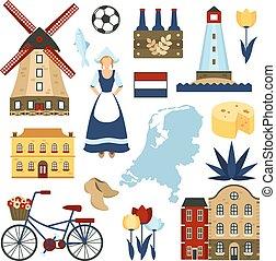 símbolos, países bajos, conjunto
