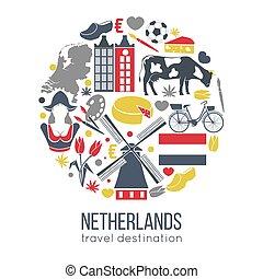 símbolos, países bajos, viajar, tradicional, turistas, bosquejo