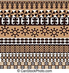 símbolos, padrão, africano, ornamentos, étnico