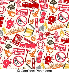 símbolos, padrão, bombeiro, fundo, ícones