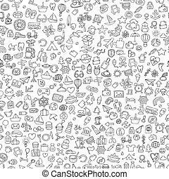 símbolos, padrão, branca, pretas, seamless