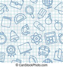 símbolos, padrão, escola, seamless