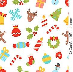 símbolos, padrão, seamless, tradicional, natal