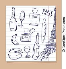 símbolos, paris, esboço, ícones