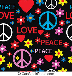 símbolos, patrón, hippie, seamless