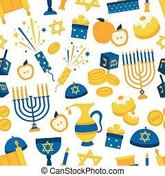 símbolos, patrón, seamless, hanukkah
