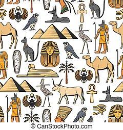 símbolos, patrón, vector, seamless, egipcio