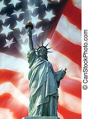 símbolos, patriótico, -, estátua, liberdade