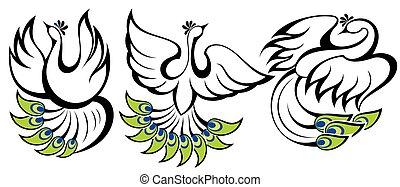 símbolos, peacocks., pássaros