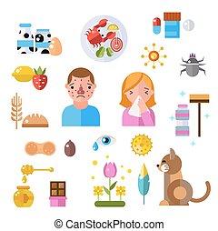 símbolos, pessoas, informação, alergia, doença, vetorial