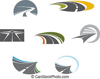 símbolos, pictograms, estrada