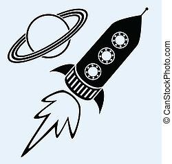 símbolos, planeta, barco, saturno, cohete