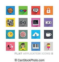 símbolos, plano, diseños, icono, y