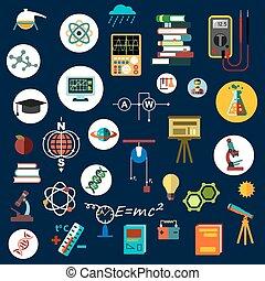 símbolos, plano, física, equipo, ciencia