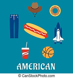 símbolos, plano, iconos americanos