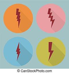 símbolos, plano, set., relámpago