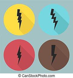 símbolos, plano, set., vector., relámpago