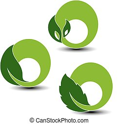 símbolos, planta, elementos, natural, naturaleza, hoja, vector, circular