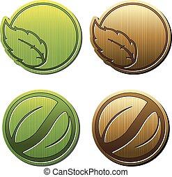 símbolos, producto, natural, bio, eco, hoja, pegatina, naturaleza, vector, icono, circular