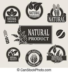 símbolos, produto, vetorial, natural, natureza