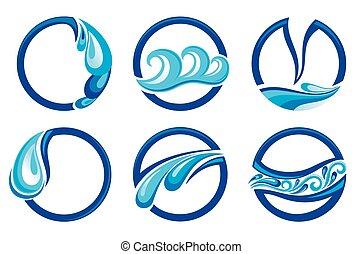 símbolos, projeto fixo, isol, onda