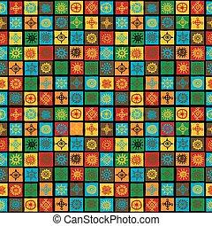 símbolos, quadrados, fundo, coloridos, étnico