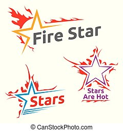 símbolos, queimadura, estrelas