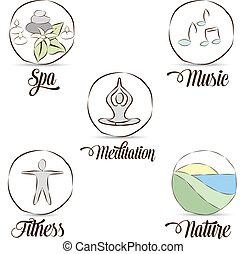 símbolos, relaxamento