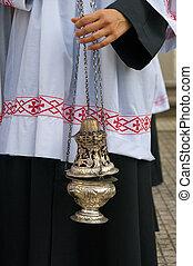 símbolos, religión, :, incienso