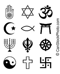 símbolos, religiosas, branca, pretas, &