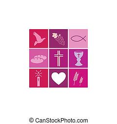 símbolos, religioso, niñas