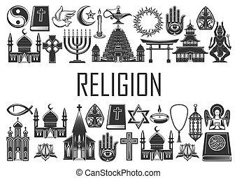 símbolos religiosos, religión, mundo, iconos