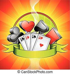 símbolos, ribbon., casino, ilustración, tarjetas, juego, 3d