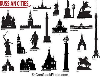 símbolos, ruso, ciudades