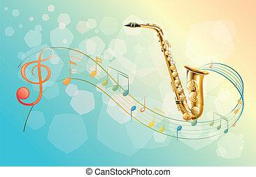 símbolos, saxófono, musical