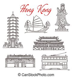 símbolos, señales, kong, famoso, hong, arquitectura