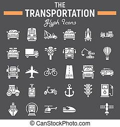símbolos, señales, logotipo, transporte, glyph, conjunto, aislado, plano de fondo, negro, vehículo, dibujos, transporte, pictograms, icono, 10, paquete, sólido, colección, eps, vector, navegación, ilustraciones