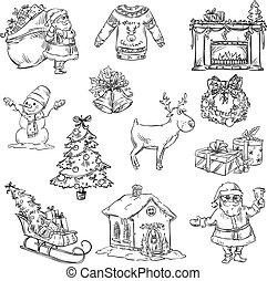 símbolos, seleção, natal