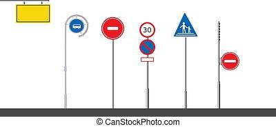 símbolos, sinal, tráfego estrada, isolado, polaco, jogo, vector., traffics, experiência., apartamento, branca
