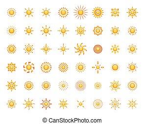 símbolos, sol, usted, diseño determinado