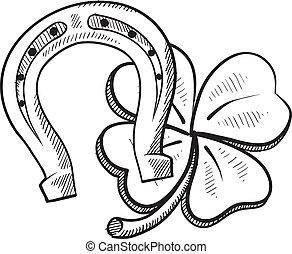 símbolos, suerte, bosquejo