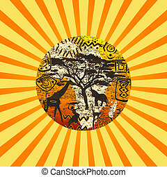 símbolos, sunburst, fundo, africano
