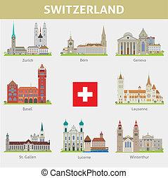 símbolos, switzerland., conjunto, cities., vector