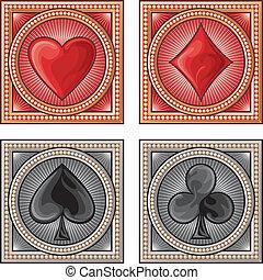 símbolos, tarjeta, decorativo