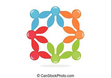 símbolos, teamwo, conectado, pessoas