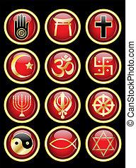 símbolos, tela, religioso, brillante, botones